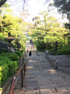 long and steep steps at Ikegami